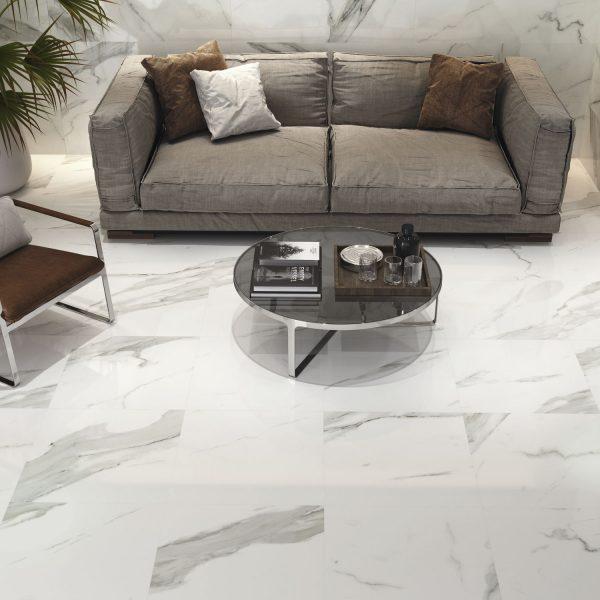Carrelage mural aspect blanc polie PATMOS 60X60