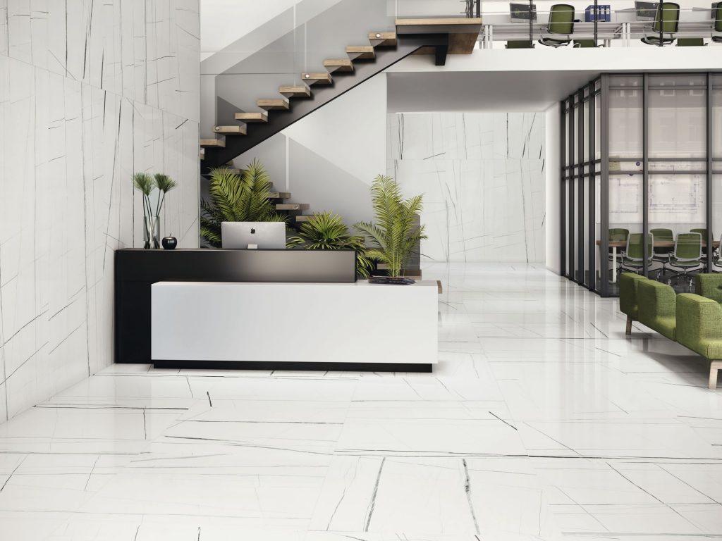 Carrelage sol et mur aspect BLANC TITANIUM 260X120