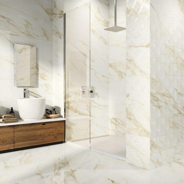 Carrelage mural aspect blanc effet marbre ADAGGIO GOLD 40X120