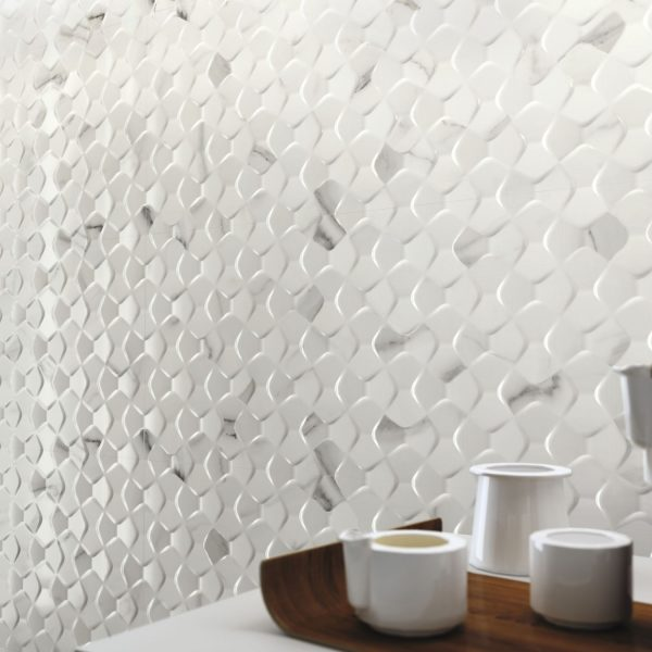 Carrelage mural aspect blanc effet 3D PATMOS 40X120