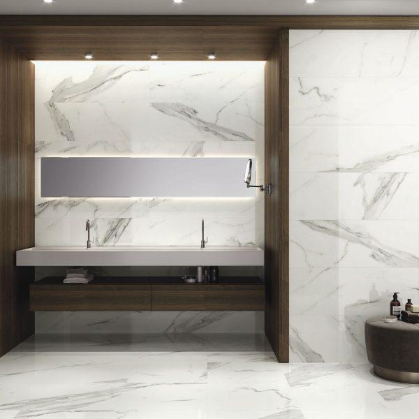 Carrelage mural aspect blanc nacré PATMOS 40X120