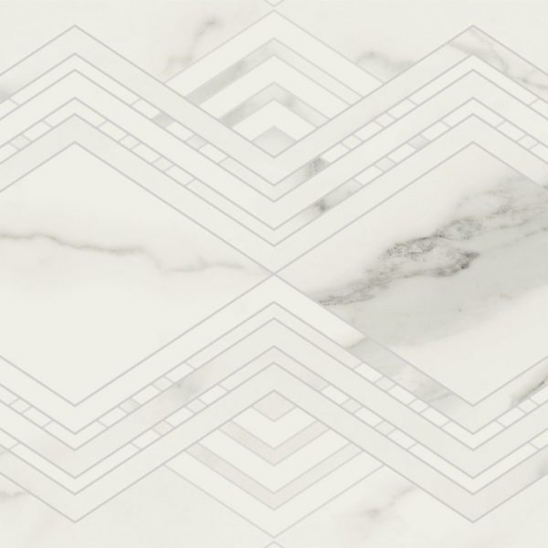 Carrelage mural aspect blanc losanges PATMOS 40X120
