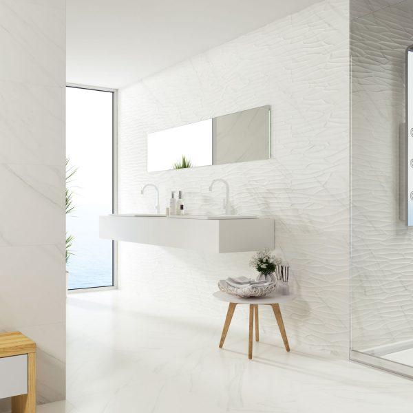 Carrelage mural aspect blanc effet TASOS 40X120