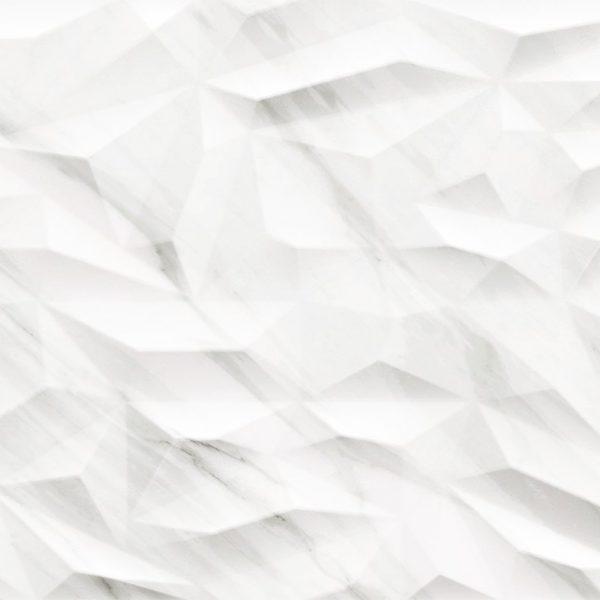 Carrelage mural aspect blanc ondulé 3D TASOS 40X120