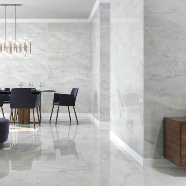 Carrelage sol et mur aspect marbre gris clair PIENZA AVORIO PULIDO 60X120